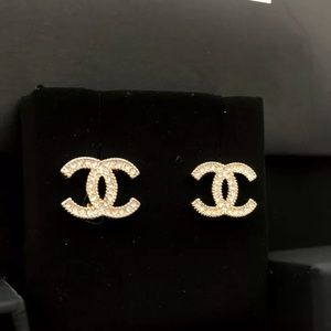 Auth Chanel Classic CC Logo Crystal/Gold Earrings